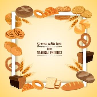 Moldura de pão e pastelaria com produto natural
