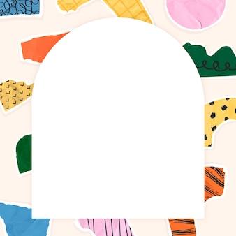 Moldura de papel rasgado em tom colorido