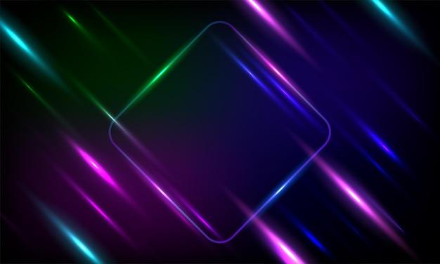 Moldura de paralelogramo arredondado de néon com efeitos brilhantes