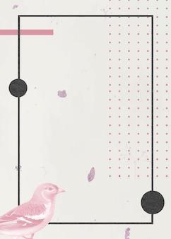 Moldura de pássaro em retângulo preto