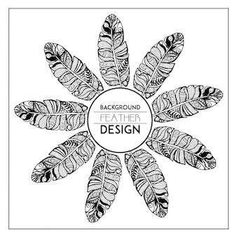 Moldura de penas florais desenhadas à mão