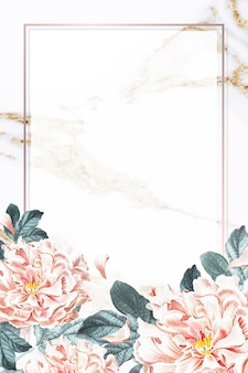 Moldura de peônia floral dourada