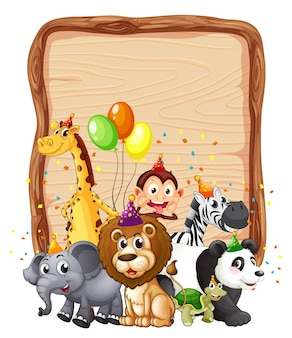 Moldura de placa de madeira em branco com animal selvagem em tema de festa