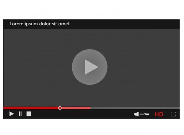 Moldura de player de vídeo interface de modelo de player de vídeo