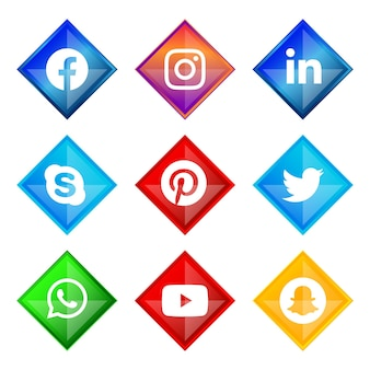 Moldura de prata brilhante botão de ícone de mídia social do facebook instagram linkedin skype pinterest twitter whatsapp youtube e snapchat com efeito gradiente definido para uso on-line ux ui Vetor Premium