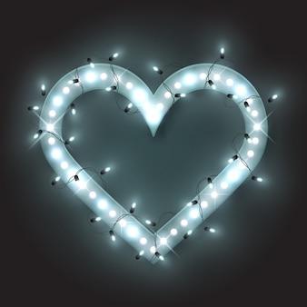 Moldura de prata coração de néon retrô, guirlanda de brilho de luz led