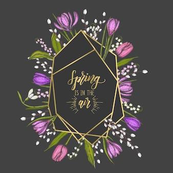 Moldura de primavera com formas geométricas de diamante dourado e flores desenhadas à mão