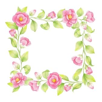 Moldura de primavera em aquarela de flores cor de rosa e galhos verdes