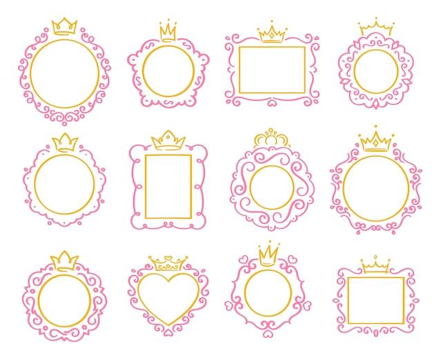 Moldura de princesa. borda de coroa bonito, quadros de espelho real e majestoso príncipe doodle conjunto de fronteiras