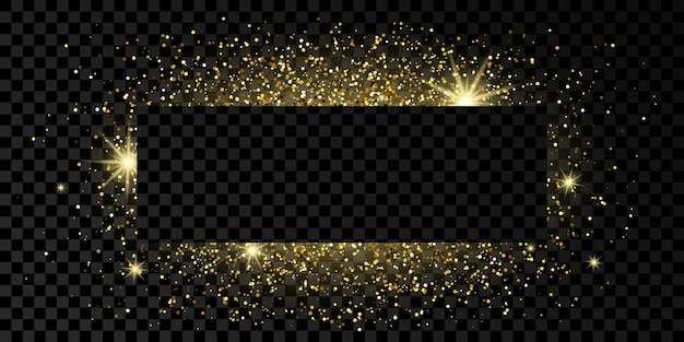 Moldura de retângulo dourado com glitter, brilhos e chamas em fundo transparente escuro. pano de fundo vazio de luxo. ilustração vetorial.