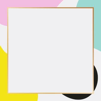 Moldura de retângulos dourados com fundo estilo memphis.