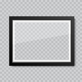 Moldura de retrato ou fotografia de vidro em branco realista