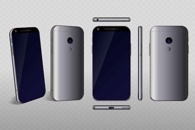 Moldura de smartphone com modelos isolados de exibição em branco