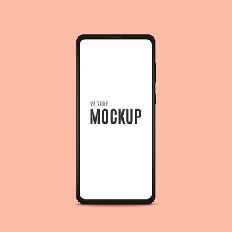 Moldura de smartphone, preta com tela em branco.
