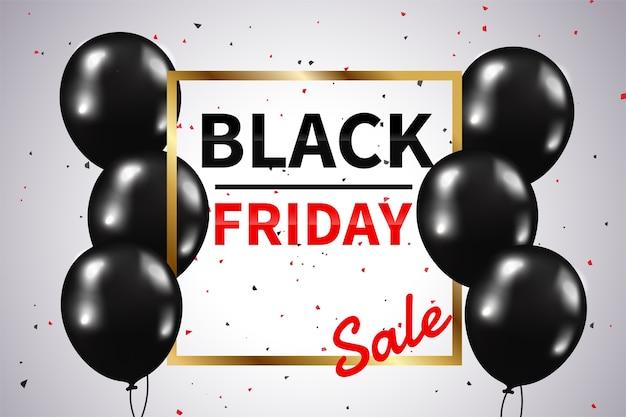Moldura de texto dourada preta de venda na sexta-feira com balões pretos brilhantes para promoção no final do ano