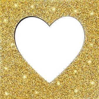 Moldura de textura e coração glitter dourados