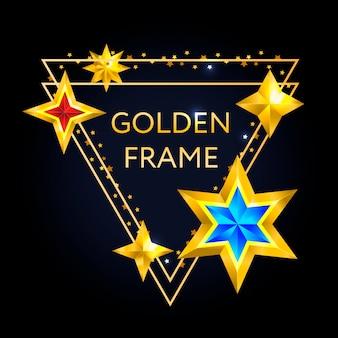 Moldura de triângulo dourado com estrelas