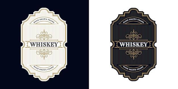 Moldura de uísque vintage de luxo antigo com gravura ocidental para rótulo de embalagem de cerveja, vinho e uísque