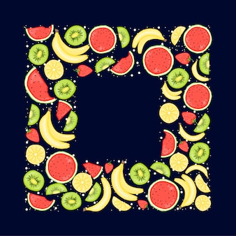 Moldura de verão com frutas. estilo dos desenhos animados. ilustração.