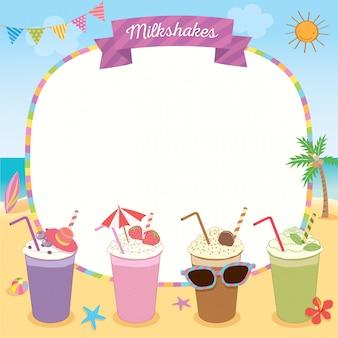 Moldura de verão de milkshakes
