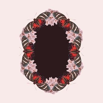 Moldura de vetor vintage com padrão de borboleta rosa, remix de the naturalist's miscellany, de george shaw