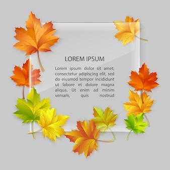 Moldura de vidro com folhas coloridas de bordo de outono