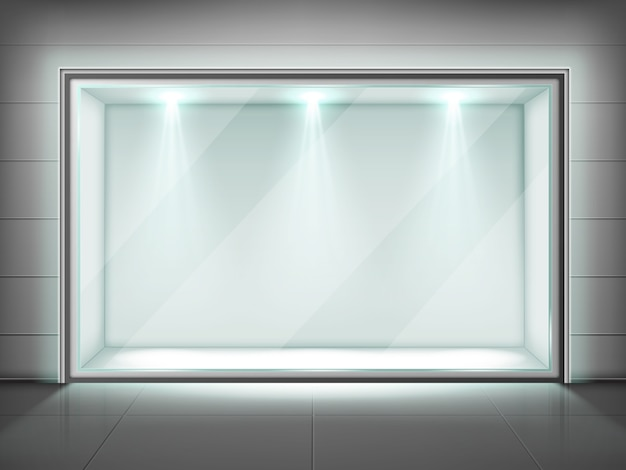 Moldura de vidro, montra transparente com luz