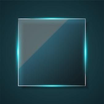 Moldura de vidro quadrada com fundo escuro.