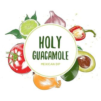 Moldura de vista superior da culinária mexicana. projeto do menu de comida