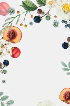 Moldura decorada com flores e frutas