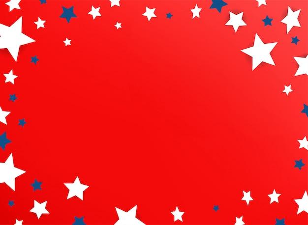Moldura decorativa com estrelas de cor em fundo vermelho