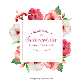 Moldura decorativa com flores de aguarela