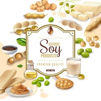 Moldura decorativa com produtos alimentares de soja em bege branco