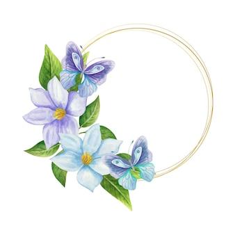 Moldura decorativa de flores azuis com borboletas em aquarela