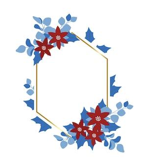Moldura decorativa de flores de inverno para cartões e convites