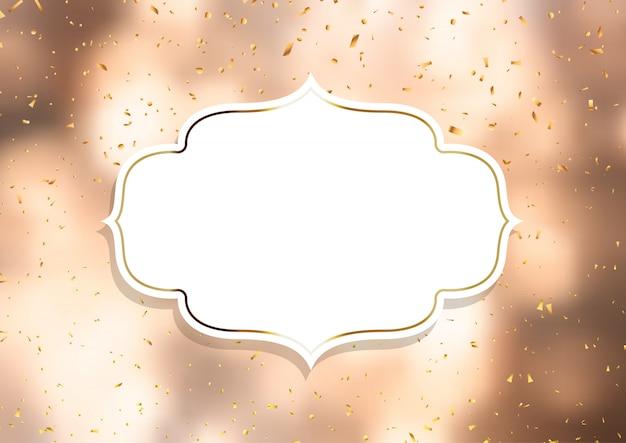 Moldura decorativa em um fundo de confete dourado