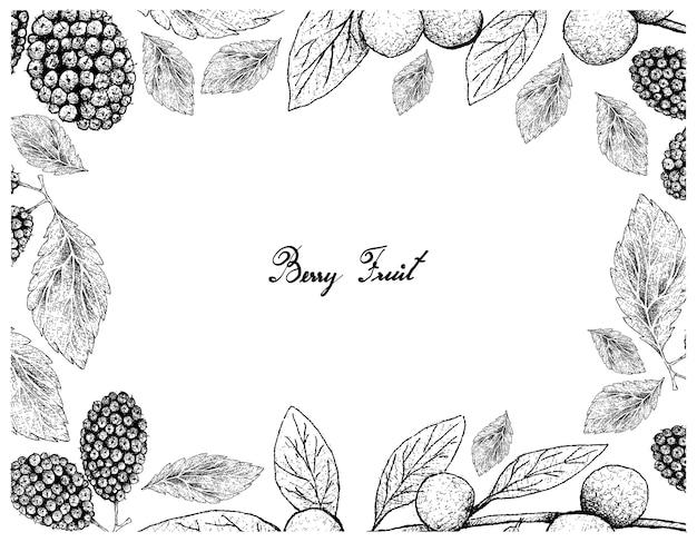 Moldura desenhada à mão de faia-canária e amoras-pretas