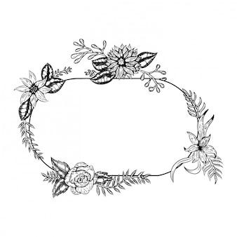 Moldura desenhada de mão lindo buquê preto e branco