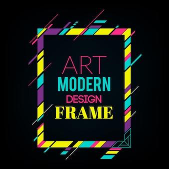 Moldura dinâmica com formas geométricas abstratas coloridas e elegantes ao redor