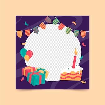 Moldura do facebook de aniversário de design plano