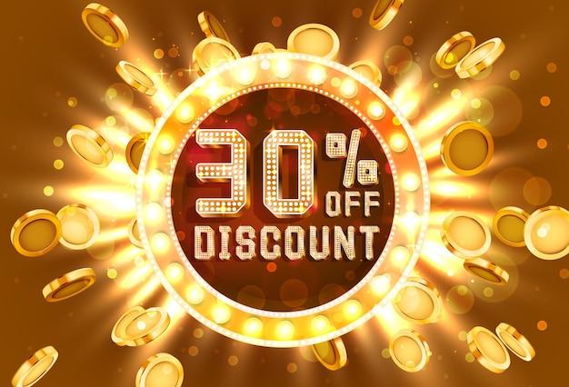 Moldura dourada 30 venda do banner de texto. ouro de explosão de dinheiro. ilustração vetorial