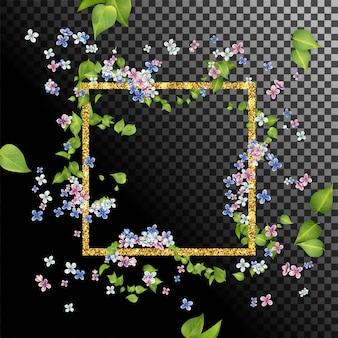 Moldura dourada abstrata com folhas e flores voando