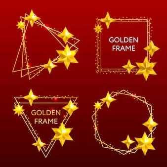 Moldura dourada bandeira de retângulo brilhante.