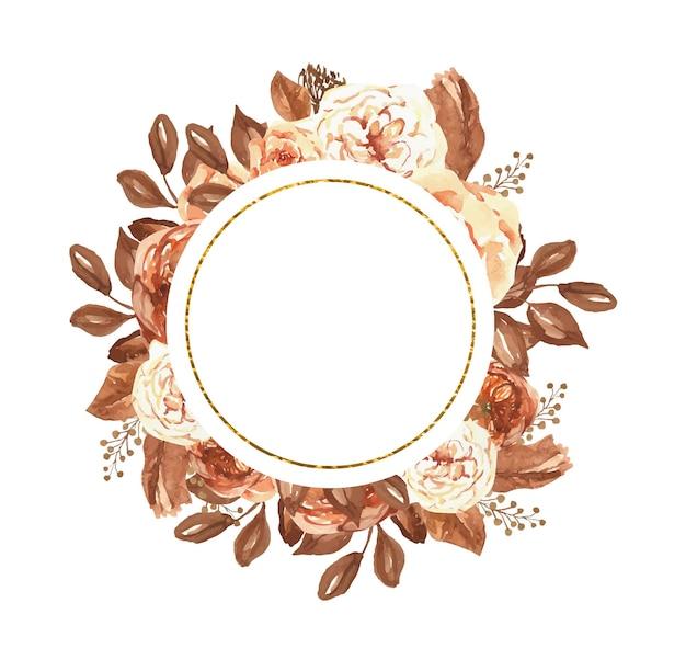 Moldura dourada botânica em aquarela com flores de outono, ótima para convites de casamento e gravuras