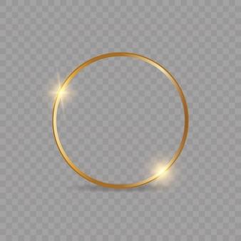 Moldura dourada brilhante brilhante com sombra isolada
