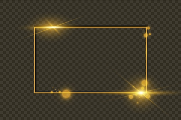Moldura dourada brilhante brilhante isolada em fundo transparente Vetor Premium
