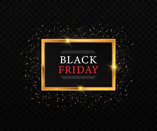 Moldura dourada brilhante brilhante para sexta-feira negra