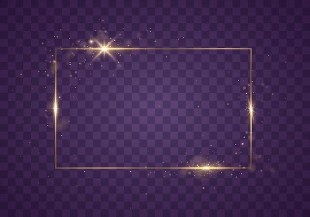 Moldura dourada brilhante com efeitos de luz