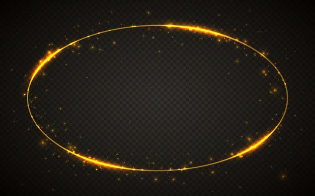 Moldura dourada brilhante com efeitos de luzes. banner de elipse brilhante