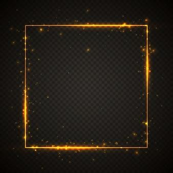 Moldura dourada brilhante com efeitos de luzes. banner quadrado brilhante